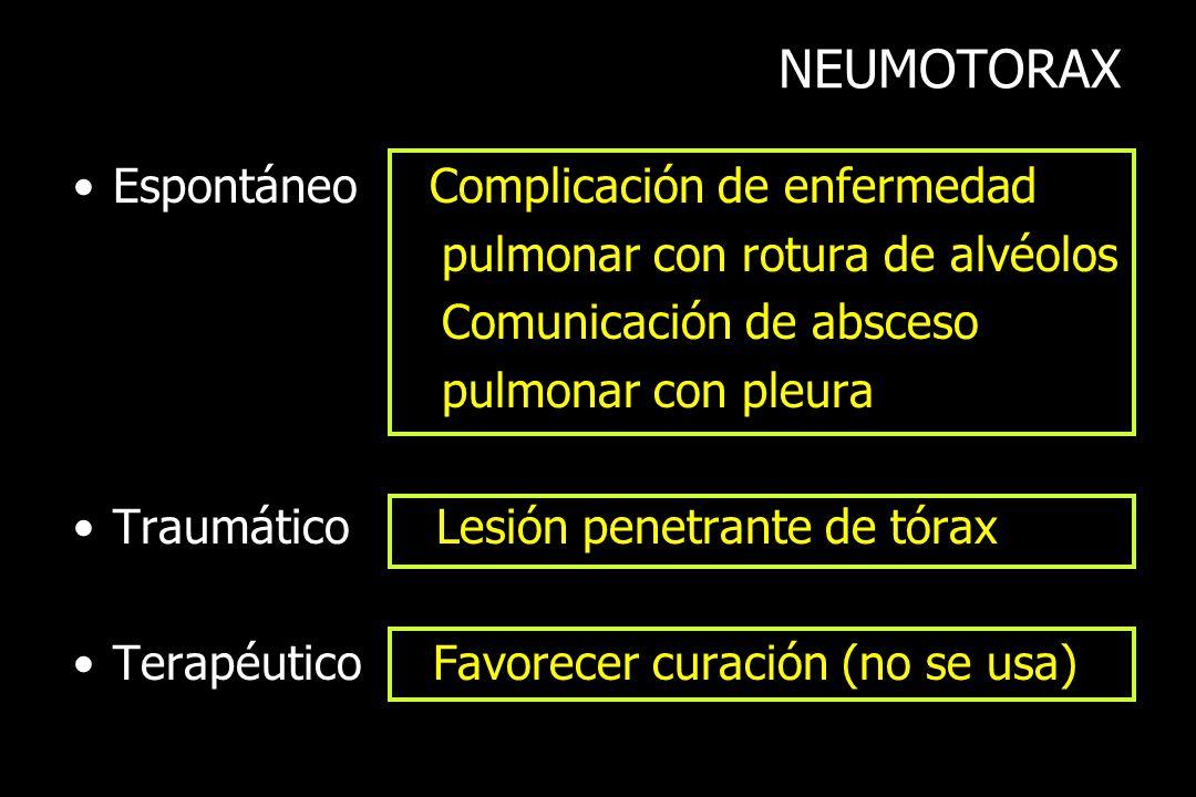 NEUMOTORAX Espontáneo Complicación de enfermedad