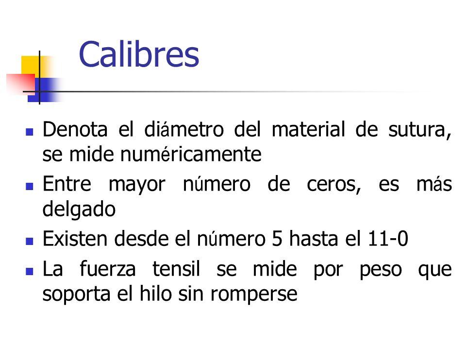 Calibres Denota el diámetro del material de sutura, se mide numéricamente. Entre mayor número de ceros, es más delgado.