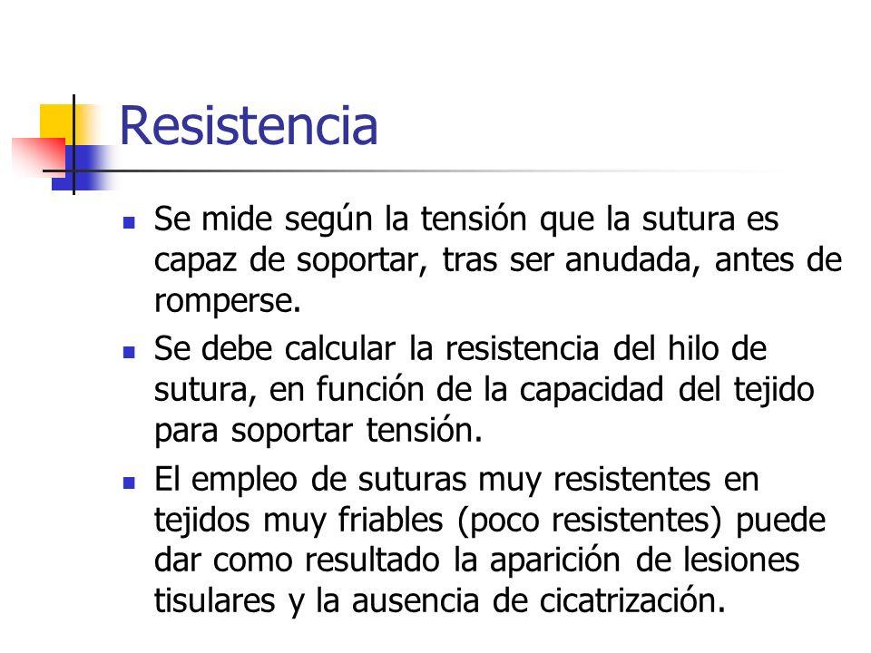 Resistencia Se mide según la tensión que la sutura es capaz de soportar, tras ser anudada, antes de romperse.