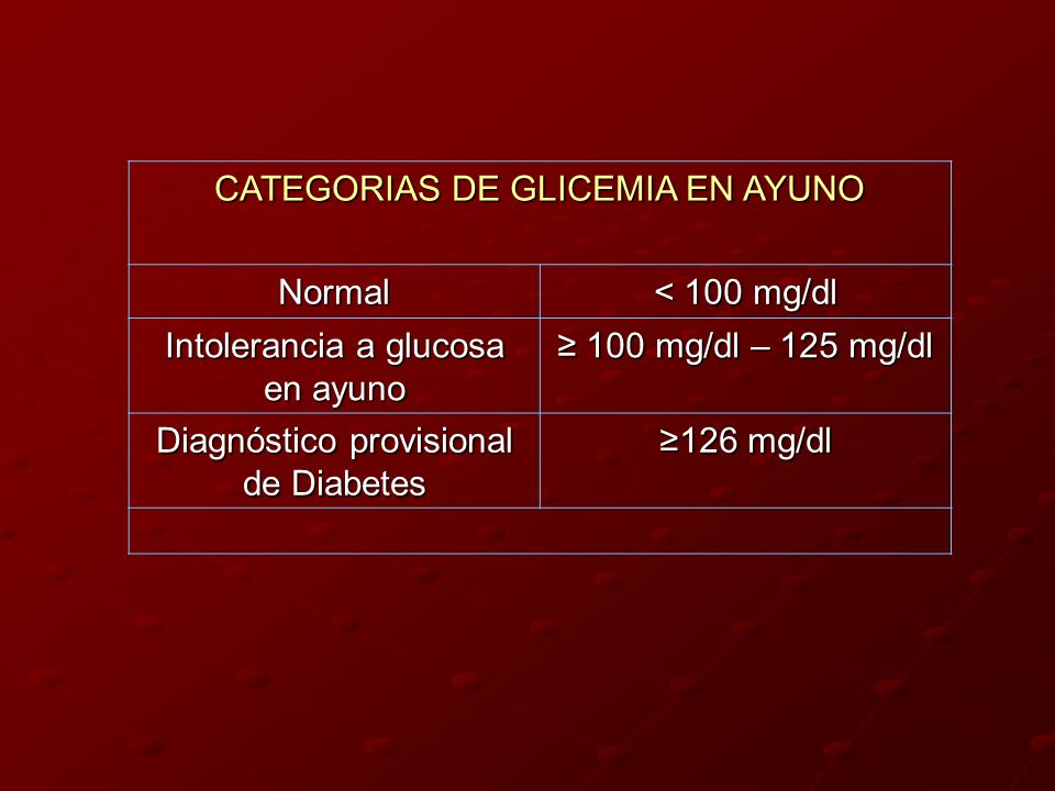 CATEGORIAS DE GLICEMIA EN AYUNO Normal < 100 mg/dl