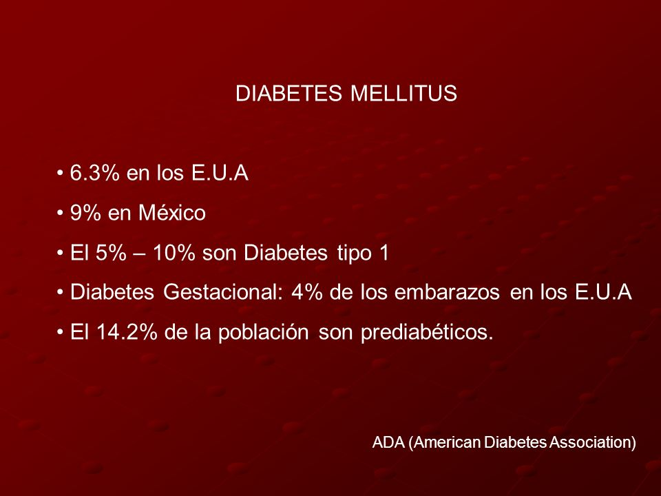 El 5% – 10% son Diabetes tipo 1