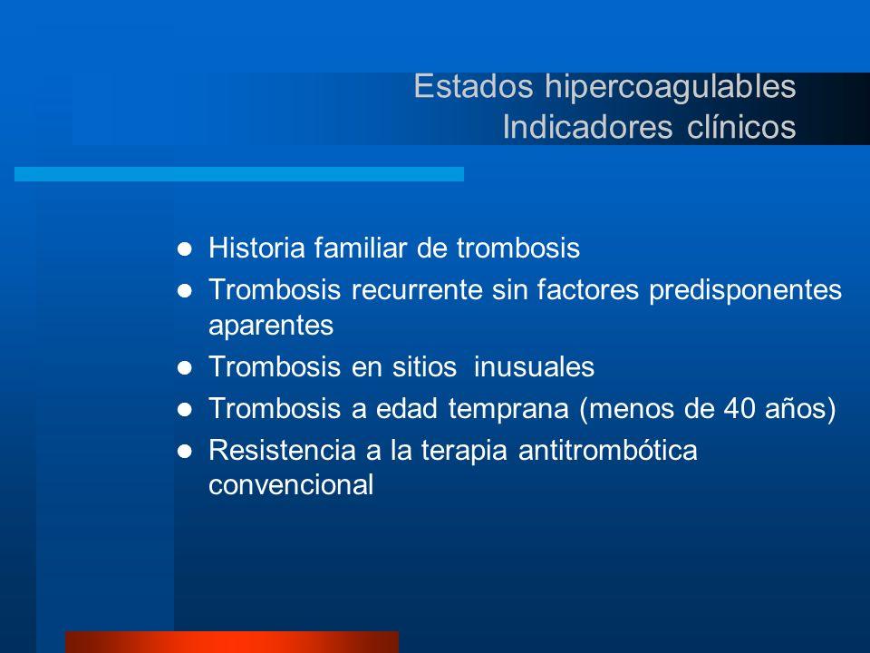 Estados hipercoagulables Indicadores clínicos