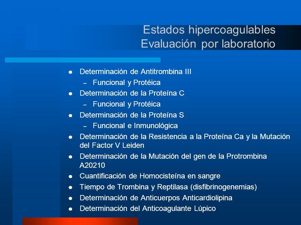 Estados hipercoagulables Evaluación por laboratorio