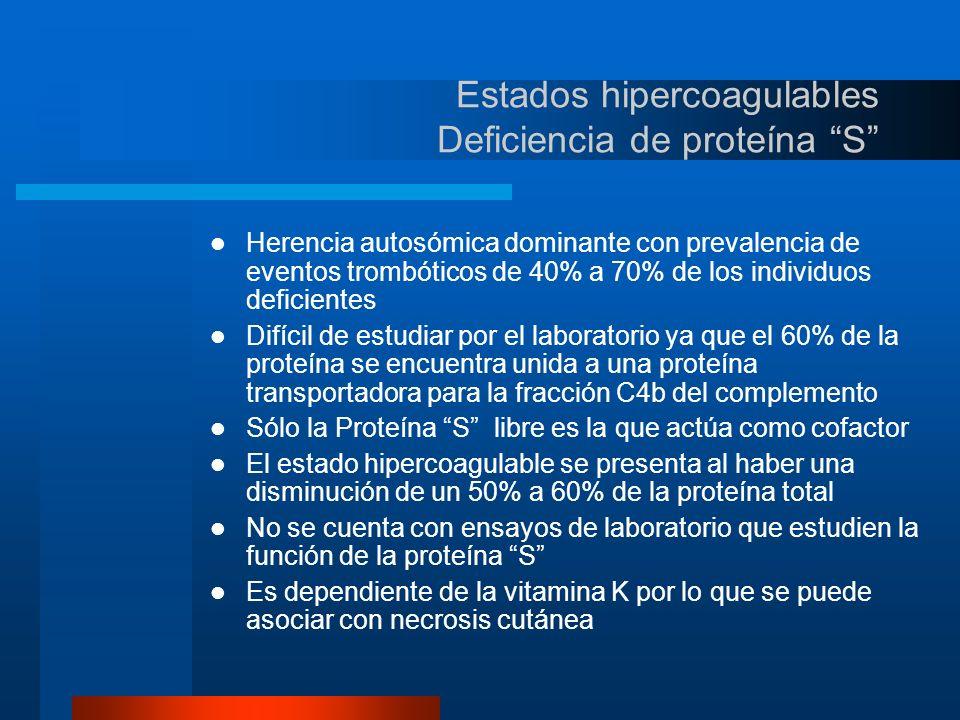 Estados hipercoagulables Deficiencia de proteína S
