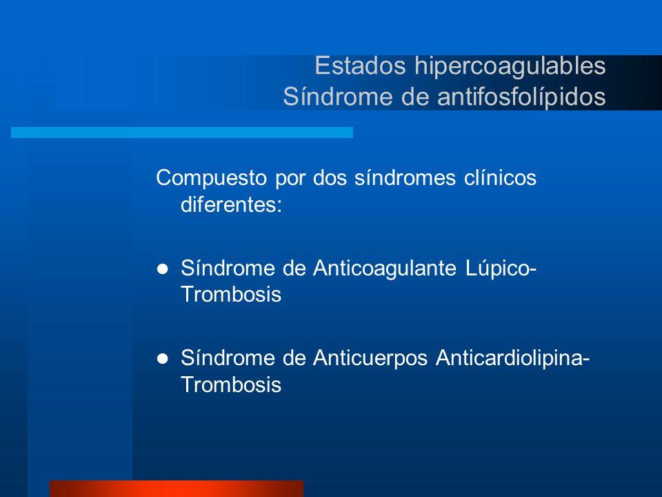 Estados hipercoagulables Síndrome de antifosfolípidos