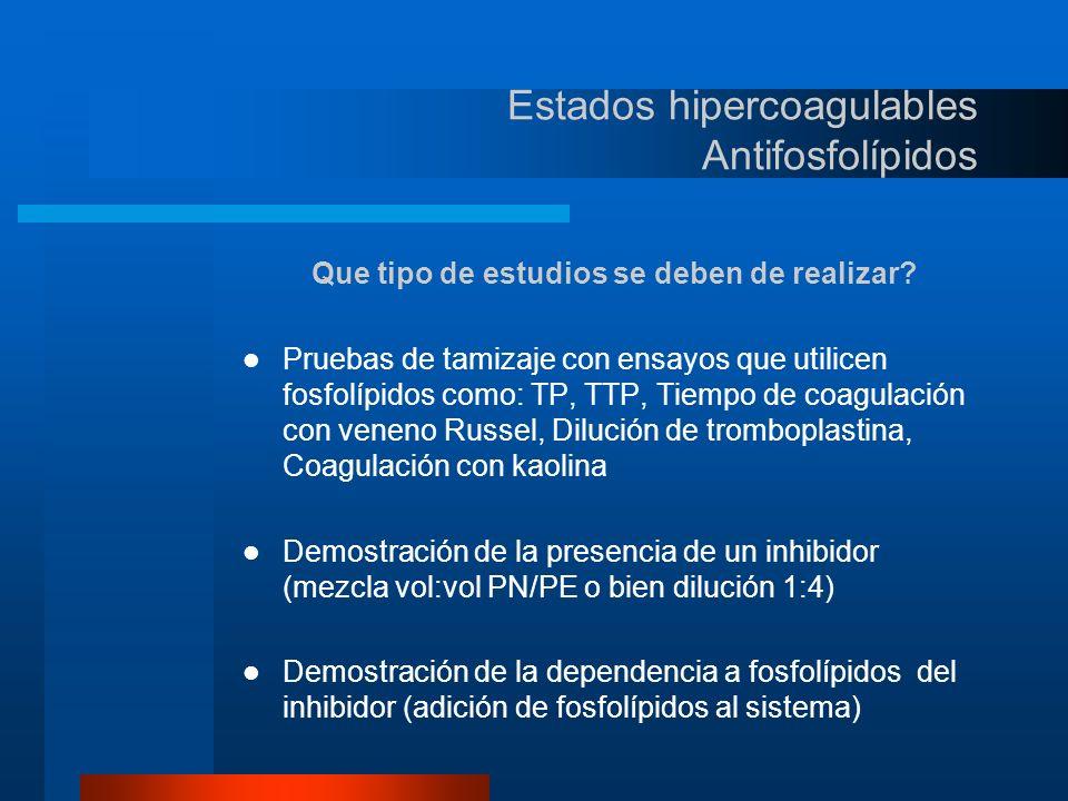 Estados hipercoagulables Antifosfolípidos