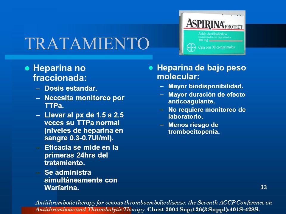 TRATAMIENTO Heparina no fraccionada: Heparina de bajo peso molecular: