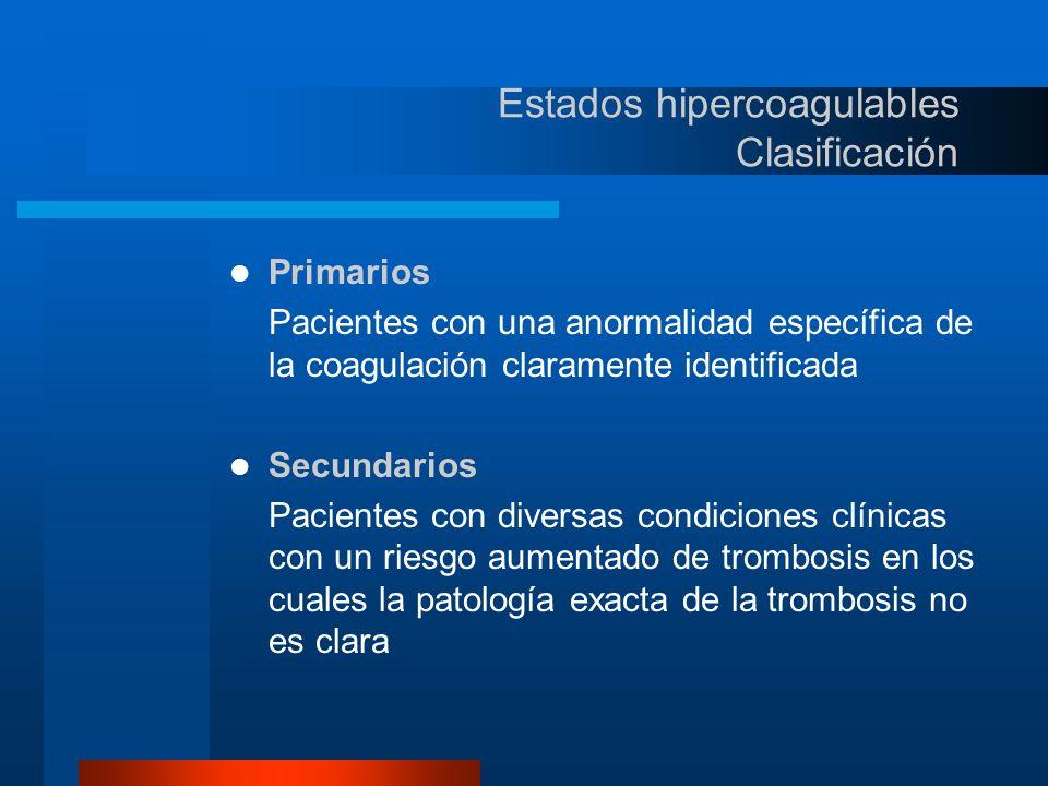 Estados hipercoagulables Clasificación