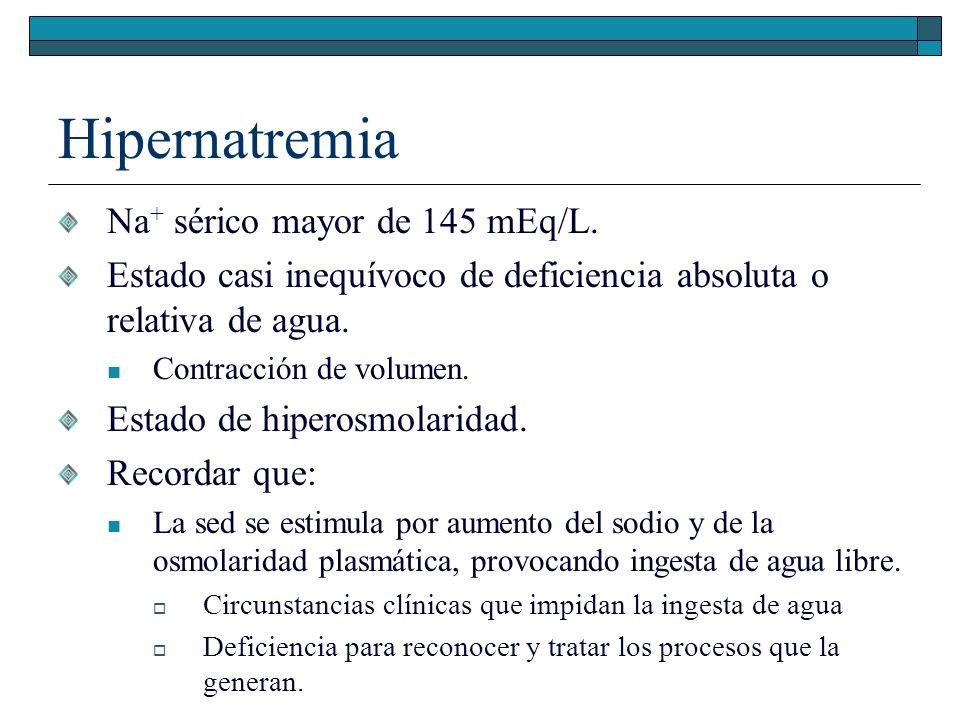 Hipernatremia Na+ sérico mayor de 145 mEq/L.