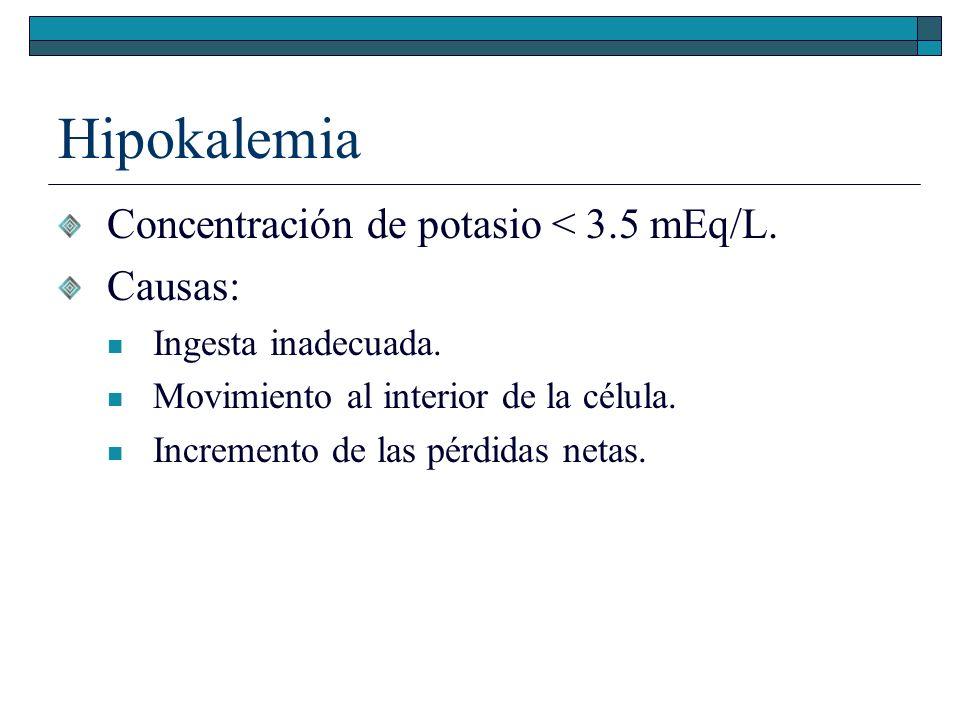 Hipokalemia Concentración de potasio < 3.5 mEq/L. Causas: