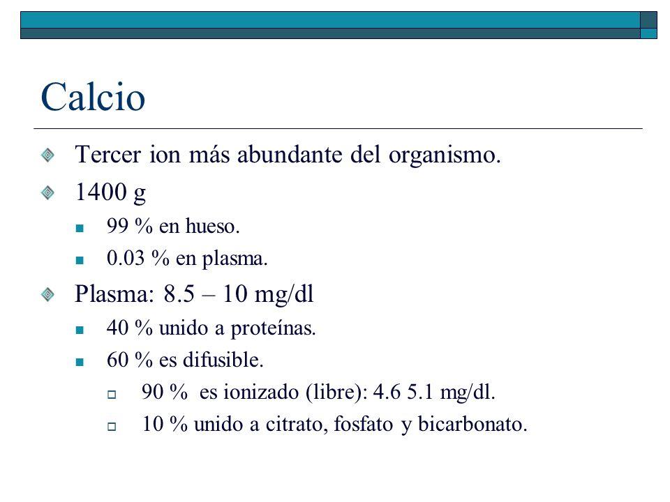 Calcio Tercer ion más abundante del organismo. 1400 g