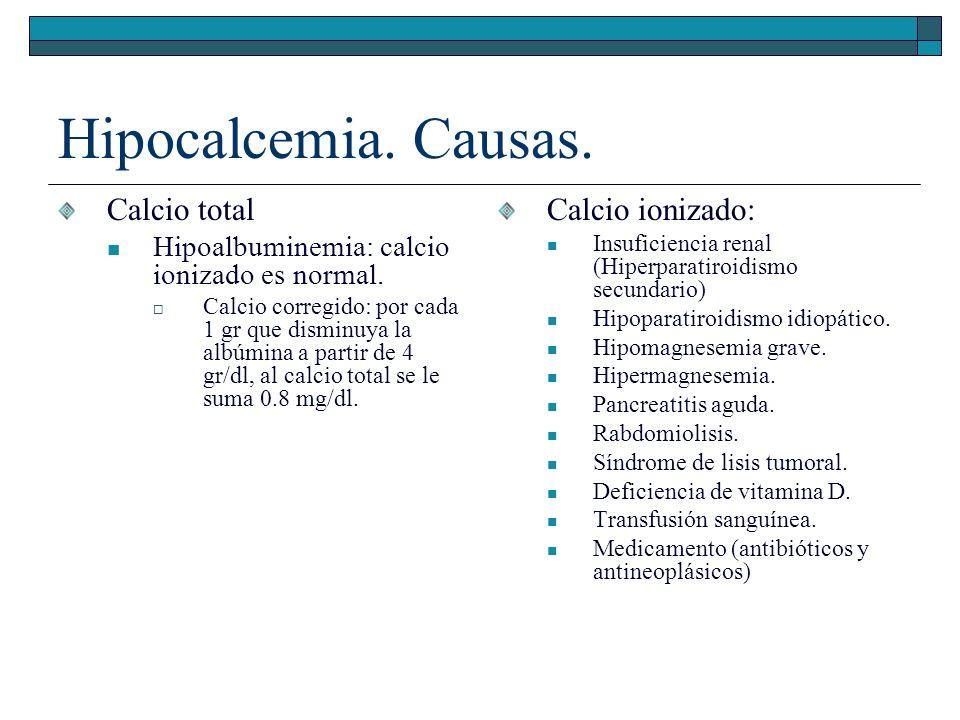 Hipocalcemia. Causas. Calcio total Calcio ionizado: