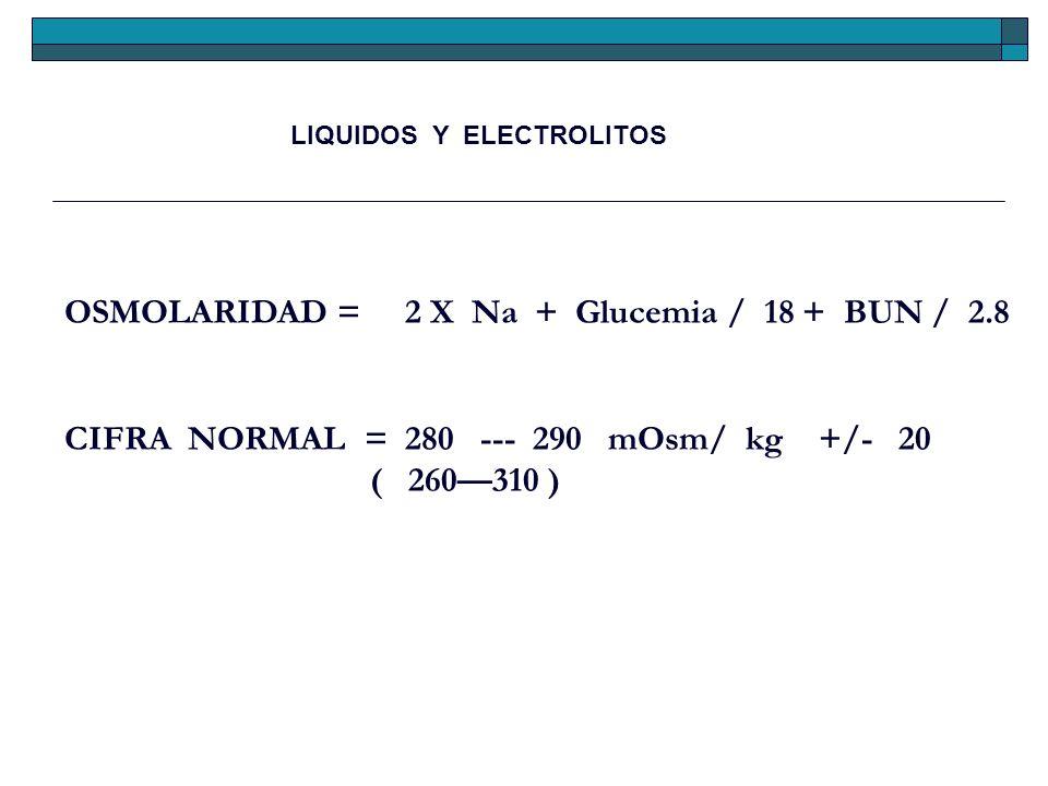 OSMOLARIDAD = 2 X Na + Glucemia / 18 + BUN / 2.8