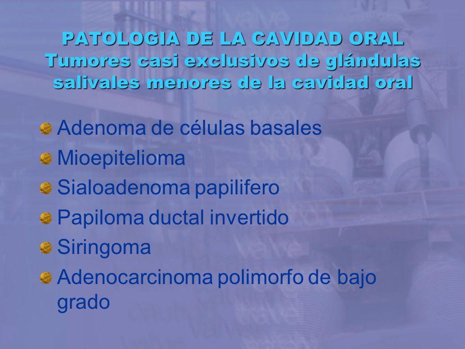 Adenoma de células basales Mioepitelioma Sialoadenoma papilifero