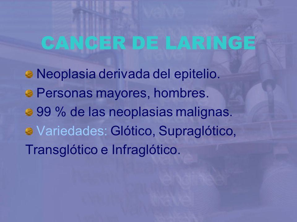CANCER DE LARINGE Neoplasia derivada del epitelio.