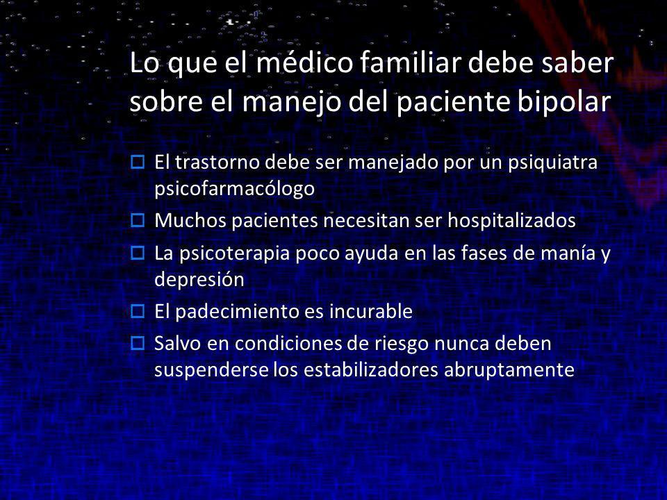 Lo que el médico familiar debe saber sobre el manejo del paciente bipolar