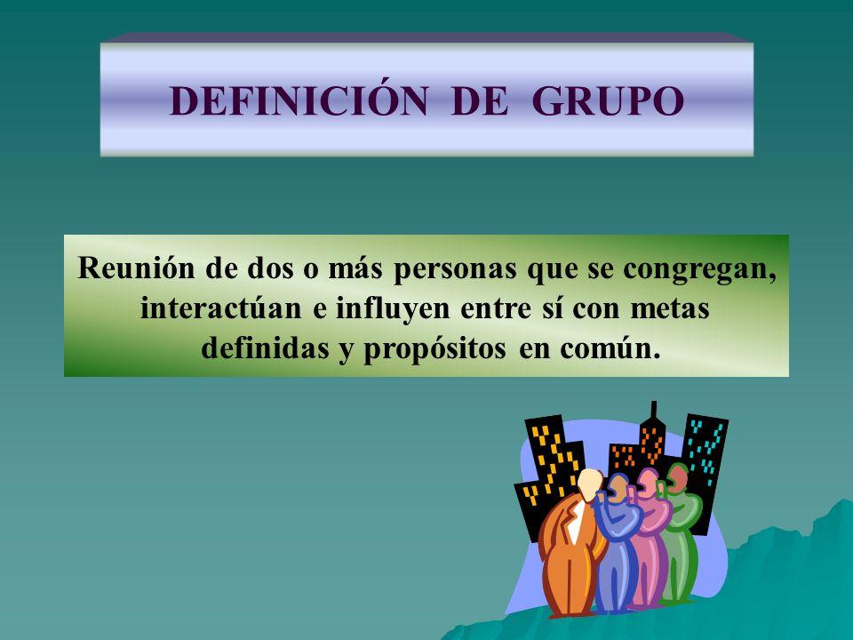 DEFINICIÓN DE GRUPO Reunión de dos o más personas que se congregan,