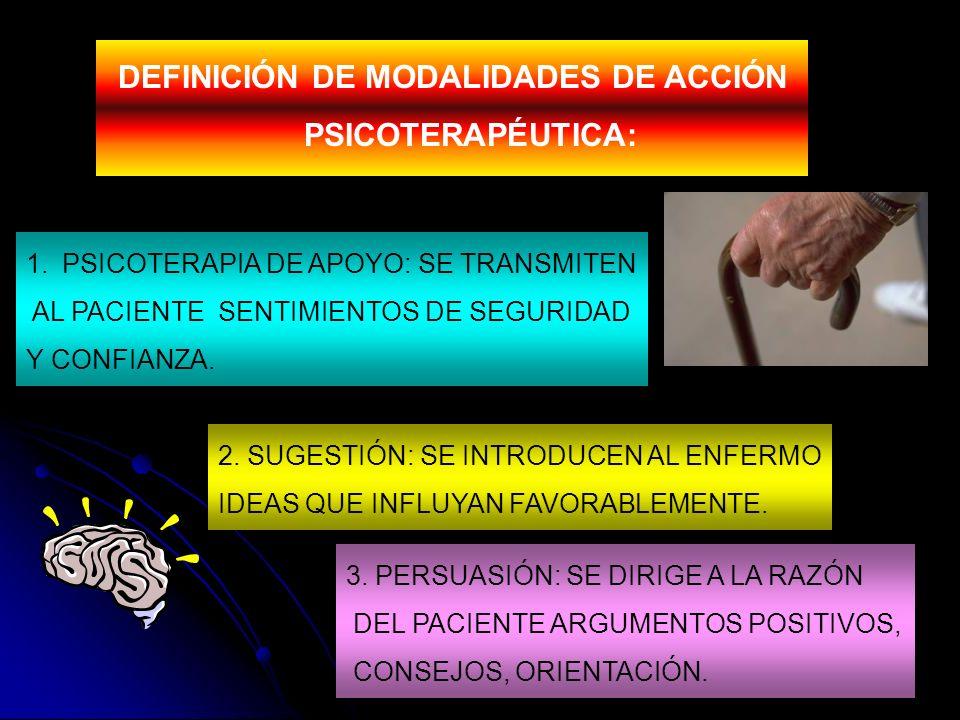 DEFINICIÓN DE MODALIDADES DE ACCIÓN PSICOTERAPÉUTICA: