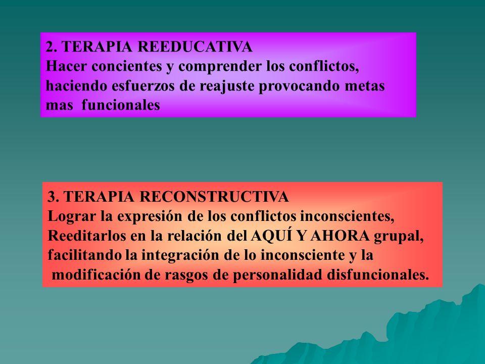 2. TERAPIA REEDUCATIVA Hacer concientes y comprender los conflictos, haciendo esfuerzos de reajuste provocando metas.
