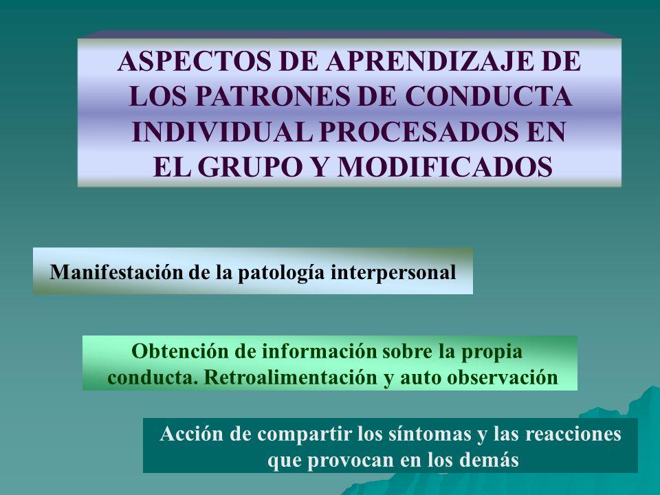 ASPECTOS DE APRENDIZAJE DE LOS PATRONES DE CONDUCTA