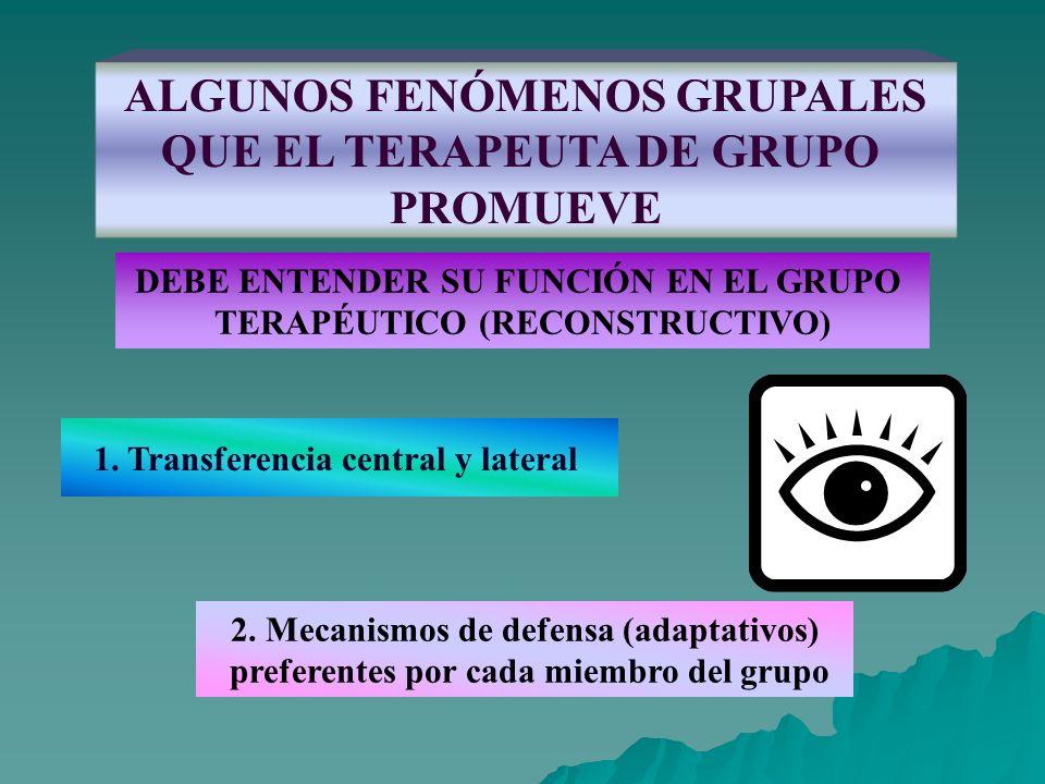 ALGUNOS FENÓMENOS GRUPALES QUE EL TERAPEUTA DE GRUPO PROMUEVE