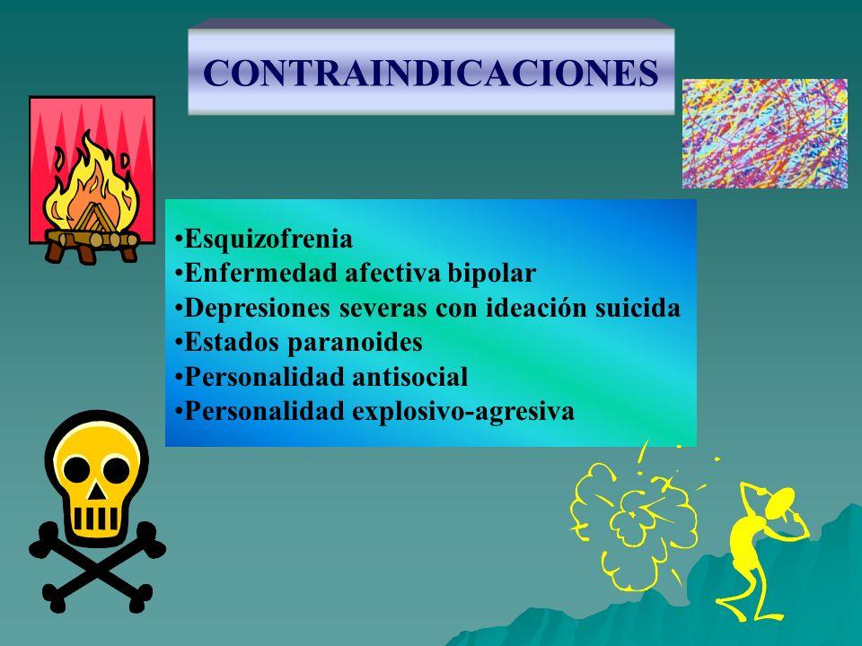 CONTRAINDICACIONES Esquizofrenia Enfermedad afectiva bipolar