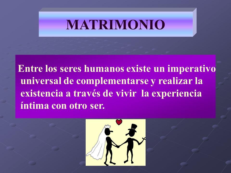 MATRIMONIO Entre los seres humanos existe un imperativo