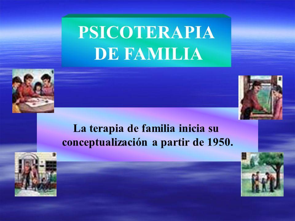 La terapia de familia inicia su conceptualización a partir de 1950.