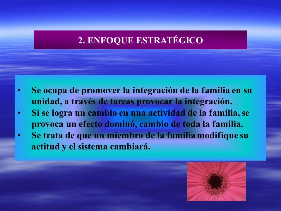 2. ENFOQUE ESTRATÉGICO Se ocupa de promover la integración de la familia en su. unidad, a través de tareas provocar la integración.