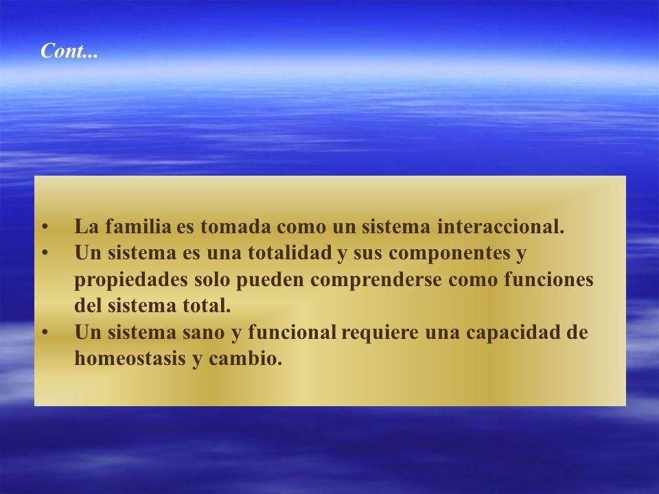 Cont... La familia es tomada como un sistema interaccional. Un sistema es una totalidad y sus componentes y.
