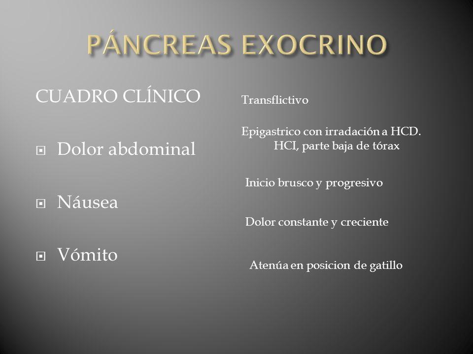 PÁNCREAS EXOCRINO CUADRO CLĺNICO Dolor abdominal Náusea Vómito