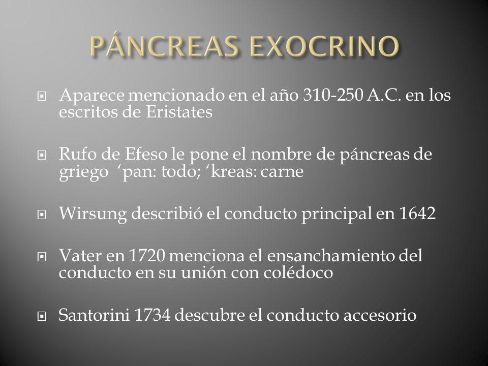 PÁNCREAS EXOCRINO Aparece mencionado en el año 310-250 A.C. en los escritos de Eristates.