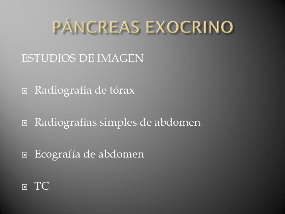 PÁNCREAS EXOCRINO ESTUDIOS DE IMAGEN Radiografía de tórax