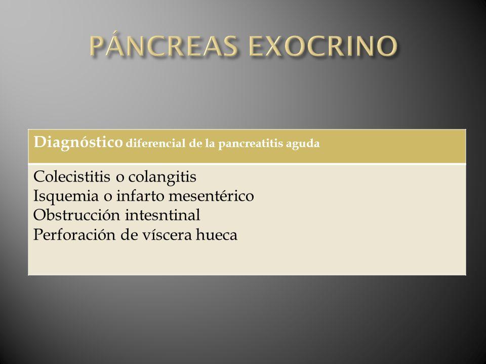 PÁNCREAS EXOCRINO Diagnóstico diferencial de la pancreatitis aguda