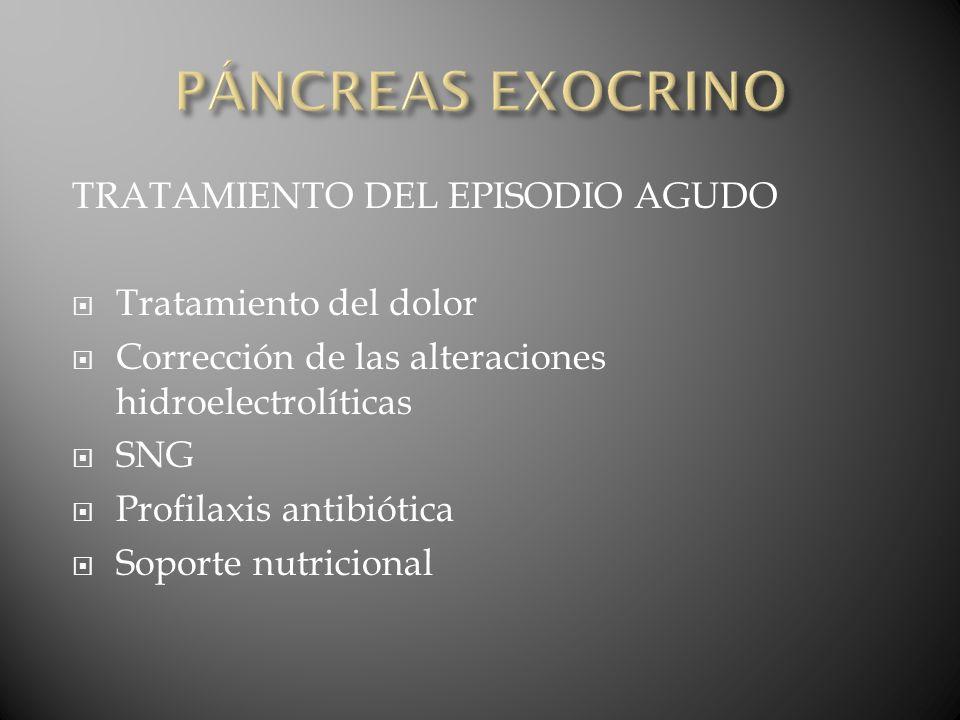 PÁNCREAS EXOCRINO TRATAMIENTO DEL EPISODIO AGUDO Tratamiento del dolor