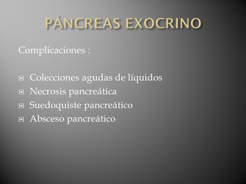 PÁNCREAS EXOCRINO Complicaciones : Colecciones agudas de líquidos
