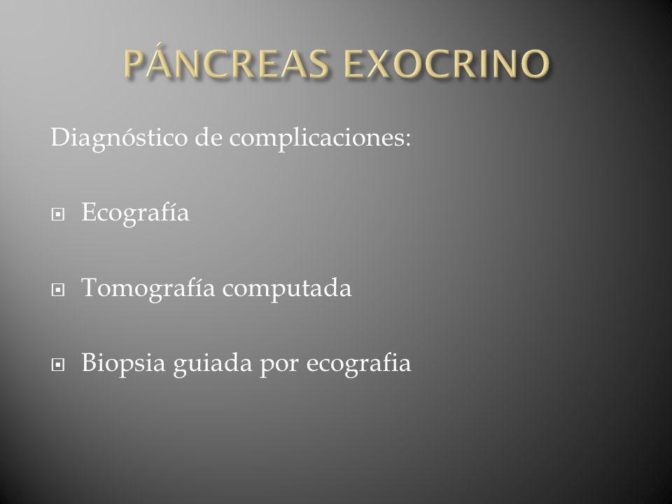 PÁNCREAS EXOCRINO Diagnóstico de complicaciones: Ecografía