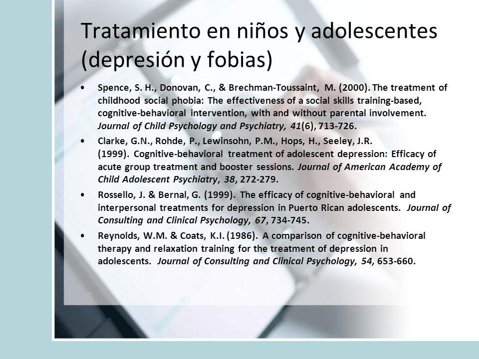Tratamiento en niños y adolescentes (depresión y fobias)