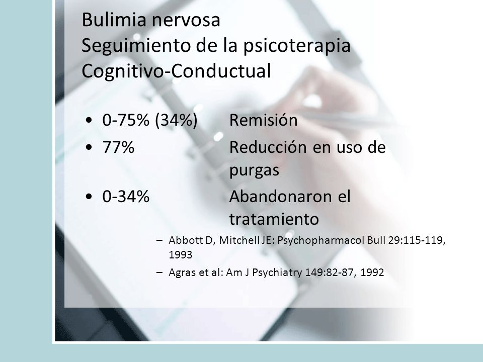 Bulimia nervosa Seguimiento de la psicoterapia Cognitivo-Conductual