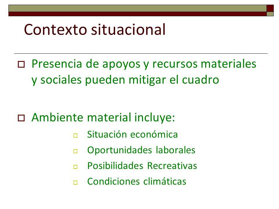 Contexto situacionalPresencia de apoyos y recursos materiales y sociales pueden mitigar el cuadro. Ambiente material incluye: