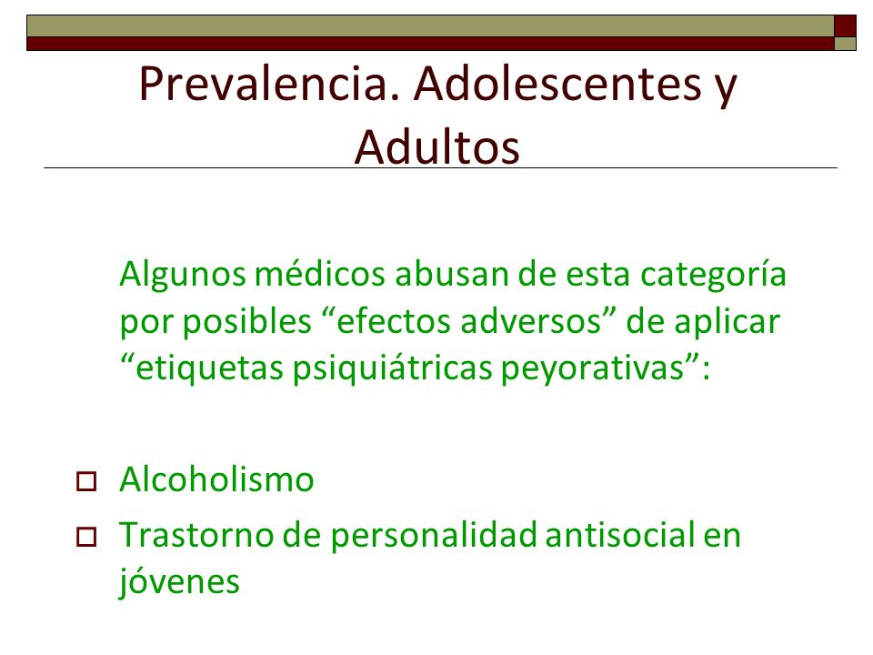 Prevalencia. Adolescentes y Adultos