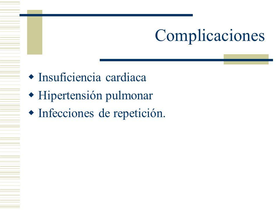 Complicaciones Insuficiencia cardiaca Hipertensión pulmonar