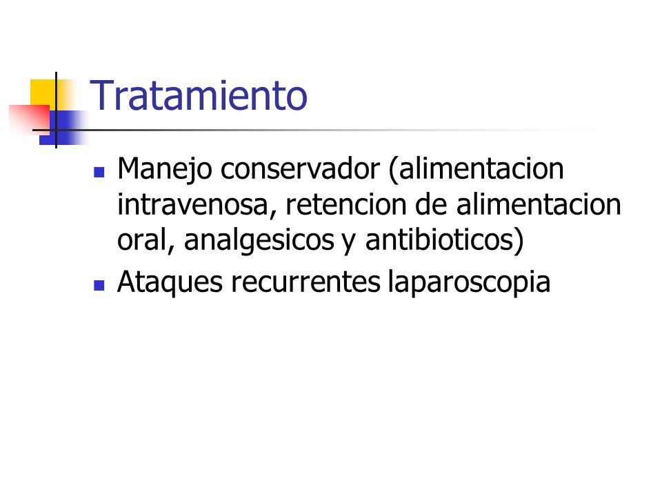 Tratamiento Manejo conservador (alimentacion intravenosa, retencion de alimentacion oral, analgesicos y antibioticos)