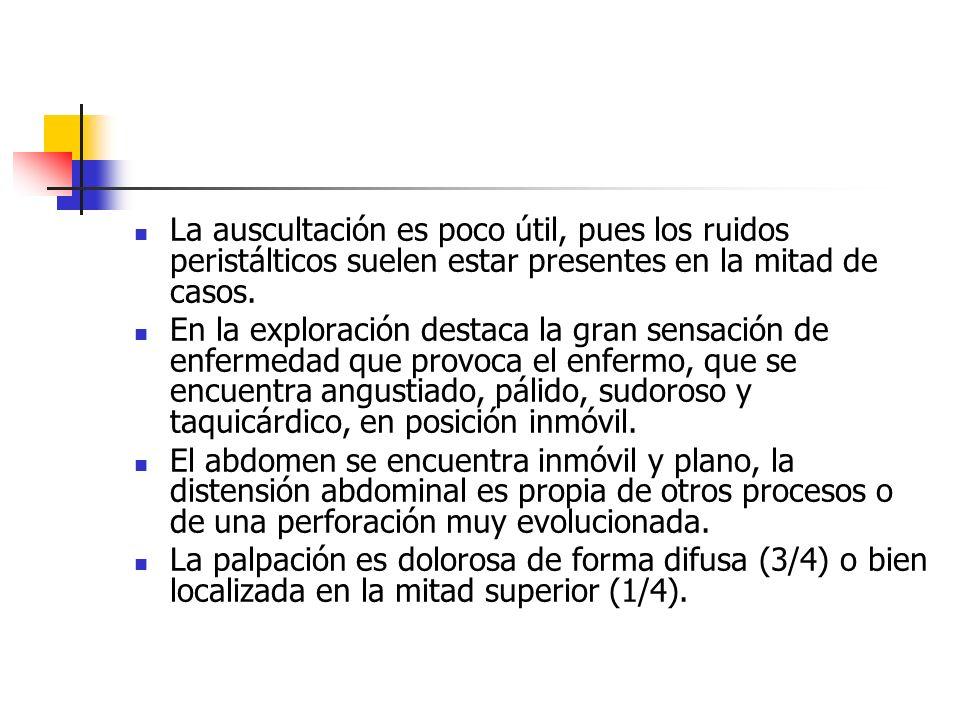 La auscultación es poco útil, pues los ruidos peristálticos suelen estar presentes en la mitad de casos.