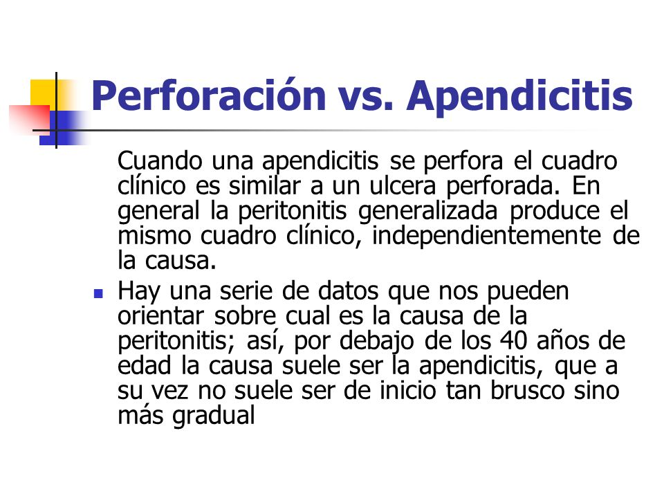Perforación vs. Apendicitis