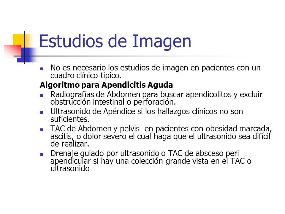 Estudios de Imagen No es necesario los estudios de imagen en pacientes con un cuadro clínico tipico.