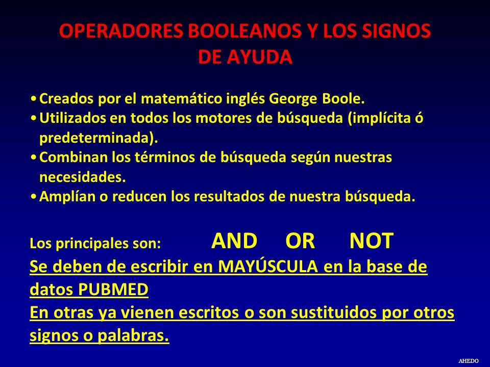 OPERADORES BOOLEANOS Y LOS SIGNOS DE AYUDA