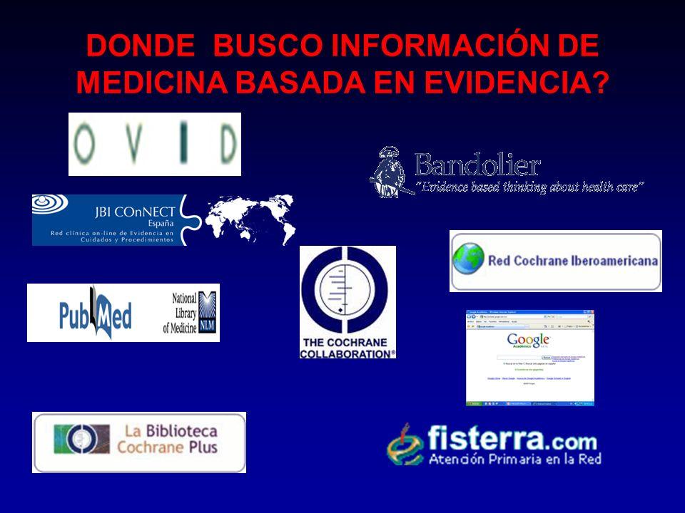 DONDE BUSCO INFORMACIÓN DE MEDICINA BASADA EN EVIDENCIA