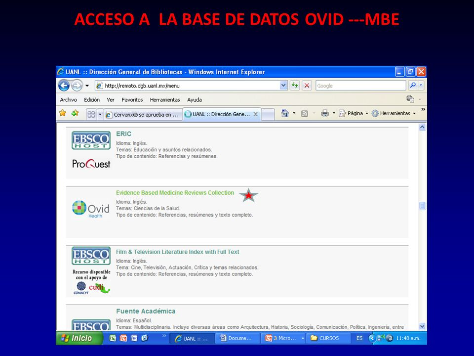 ACCESO A LA BASE DE DATOS OVID ---MBE