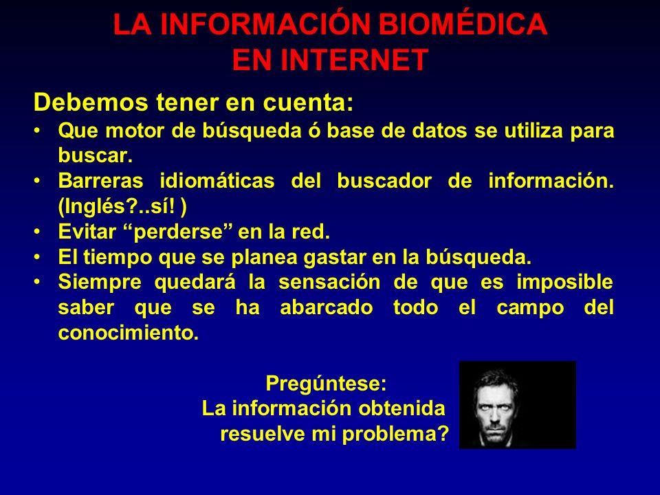 LA INFORMACIÓN BIOMÉDICA EN INTERNET